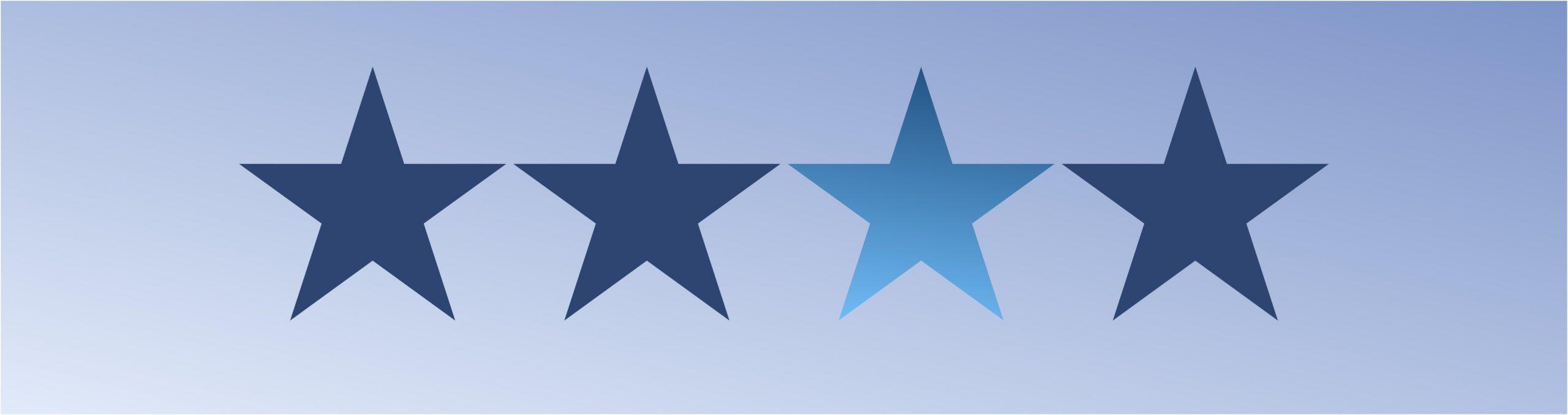 Fundo azul e 4 estrelas mostrando o controle do vocabulário no gerenciamento da informação.